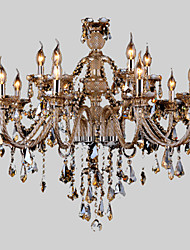 cheap -Chandelier Crystal  Cognac Color Luxury Modern 2 Tiers Living 15 Lights
