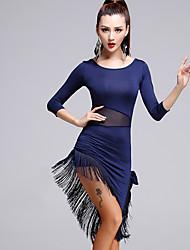 preiswerte -Latein-Tanz Kleider Damen Vorstellung Tüll Milchfieber 2 Stück 3/4 Länge Ärmel Normal Kleid Unterhose