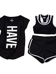 economico -Per donna Tuta da ginnastica Senza maniche Asciugatura rapida Traspirante Compressione T-shirt Pantaloncini /Cosciali Set di vestiti Top