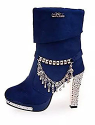 Women's Boots Fall / Winter Fashion Boots Suede Casual Chunky Heel Tassel Black / Blue