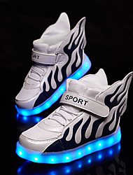 LED Light Up Shoes, Girl's Sneakers Spring / Fall Comfort Tulle Athletic Flat Heel Magic Tape / Black / White / Silver Walking / Running