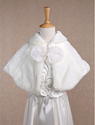Sleeveless Faux Fur Wedding Party Evening Casual Kids' Wraps With Bow Shrugs