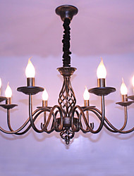 cheap -Retro contracted wrought iron lamp candle sitting room 8 pendant/sweep gold bronze lamps and lanterns