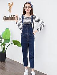 economico -Da donna A vita alta Romantico Casual Media elasticità Jeans Tuta da lavoro Pantaloni,Tinta unita Cotone Poliestere Autunno