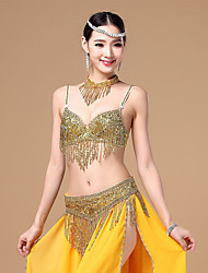 cheap -Belly Dance Outfits Women's Performance Cotton Polyester Beading Tassel Sleeveless Dropped Bra Belt Neckwear