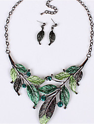 cheap -Women's Crystal Jewelry Set - Crystal Statement, Vintage, Fashion Include Necklace / Earrings Purple / Green / Blue For Wedding Party Daily