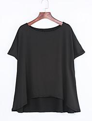 abordables -Tee-shirt Aux femmes,Couleur Pleine Automne Manches Courtes Epaules Dénudées Rouge / Blanc / Noir / Gris Lin Opaque