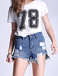 cheap -Women's Micro-elastic Shorts Jeans Pants,Casual Solid Cotton Summer