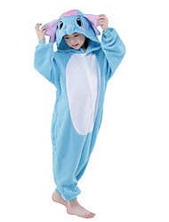 Kigurumi Pajamas New Cosplay® Elephant Leotard/Onesie Festival/Holiday Animal Sleepwear Halloween Blue Patchwork Flannel Kigurumi For Kid
