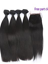 abordables -4 paquetes Cabello Brasileño Ondulado Grande Cabello Virgen Trama del pelo con cierre Cabello humano teje Extensiones de cabello humano