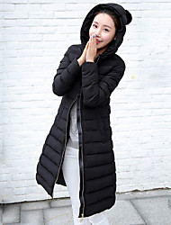 cheap -Women's Long Padded Coat,Street chic Daily Solid-Polyester Polypropylene Long Sleeves Hooded