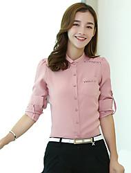 Women's Korean Stand Collar Crochet Cut Out Flax Solid OL Long Sleeve Shirt