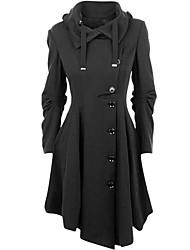 Недорогие -На каждый день Зима Весна Осень Пальто Мода Однотонный Длинная Длинные рукава
