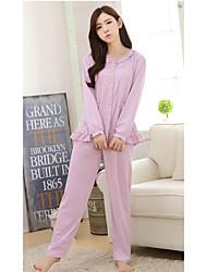 Недорогие -женщины хлопка пижамы стиль девушки. чистый хлопок. двухсекционный наряд. пижама