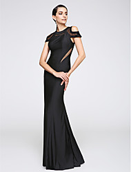 cheap -Mermaid / Trumpet Jewel Neck Floor Length Jersey Formal Evening Dress with Pleats by TS Couture®