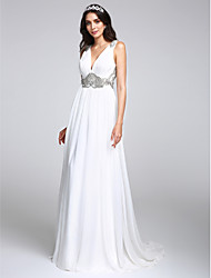 A-Line V-neck Sweep / Brush Train Chiffon Wedding Dress with Crystal Draped by LAN TING BRIDE®