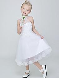 Ball Gown Tea Length Flower Girl Dress - Tulle Sleeveless Halter with Applique by Lovelybees