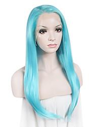 Donna Parrucche sintetiche Lace frontale Lisci Verde Blu Rosa Azzurro chiaro Attaccatura dei capelli naturale parrucca del merletto