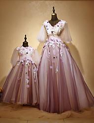 preiswerte -A-Linie Prinzessin Schmuck Boden-Länge Tüll Charmeuse Formeller Abend Kleid mit Perlenstickerei Applikationen Blume(n) durch Huaxirenjiao