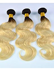 Âmbar Cabelo Brasileiro Ondulado 3 meses 3 Peças tece cabelo