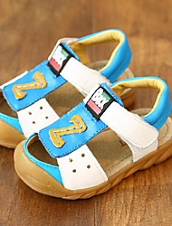 Boys' Baby Shoes Leather Summer Sandals Walking Shoes Flat Heel Magic Tape For Casual White Yellow Blue