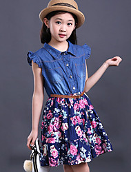 Girl's Casual/Daily Print DressOthers Summer Blue / Multi-color