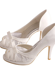 cheap -Women's Shoes Stretch Satin Spring / Summer Sandals Stiletto Heel Bowknot White / Ivory / Wedding / Party & Evening / Party & Evening