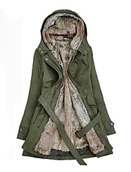 cheap -Women's Plus Size Casual / Daily Cotton Parka - Solid Colored Hooded