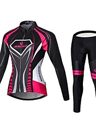 cheap -Malciklo Women's Long Sleeves Cycling Jersey with Tights - Black/Pink British Bike Bib Tights Jersey Clothing Suits, Quick Dry,