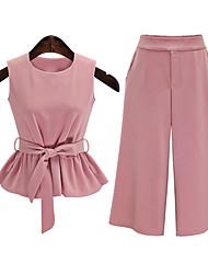 abordables -Mujer Simple Noche Verano Blusa Pantalón Trajes,Escote Redondo Un Color Sin Mangas Tipos Especiales de Cuero Rosa Fino / Opaco