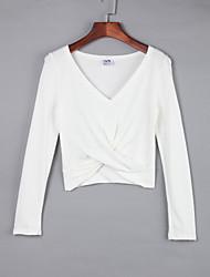 Tee-shirt Aux femmes,Couleur Pleine Décontracté / Quotidien simple Automne Sans Manches Col en V Blanc / Beige / Noir / Gris Coton Moyen