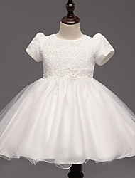 cheap -Ball Gown Knee Length Flower Girl Dress - Organza Short Sleeves Jewel Neck with Bow by YDN