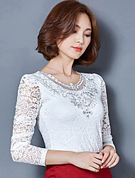 Women's Lace Spring Fall Casual Plus Size Tops Solid Color V Neck Long Sleeve Lace Blouse Pink / White / Black