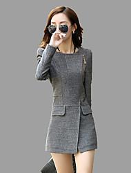 baratos -Mulheres Padrão Casaco Trabalho Para Noite Moda de Rua Inverno Outono, Côr Sólida Lã Outros Gola Redonda
