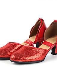 Kids' Dance Shoes Leather Latin Modern Heels Chunky Heel Practice