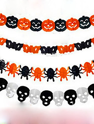 Paper Chain Garland Decorations Pumpkin Bat Ghost Spider Skull Shape Halloween Decor Garland