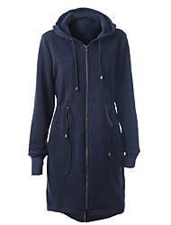 Dámské Jednobarevné Běžné/Denní Jednoduché Kabát-Polyester Jaro / Podzim Kapuce Dlouhý rukáv Modrá Střední