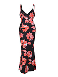 cheap -Women's Daily Sexy / Vintage Fashion Backless Sheath DressFloral Backless Strap Maxi Sleeveless Mid Rise