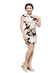 cheap -One-Piece Short Sleeve Medium Length Beige Lolita Dress Polyester