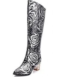 Damen-Stiefel-Hochzeit Büro Kleid Lässig Party & Festivität-Kunststoff Lackleder Kunstleder-Blockabsatz-Neuheit Cowboy / Western Stiefel