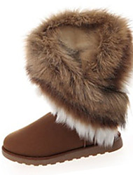 cheap -Women's Boots Winter Fashion Boots Fleece Casual Flat Heel Fur Black / Brown / Green