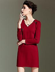 burdully sortir simples dresssolid gaine cou / v floral au-dessus du genou à manches longues en coton rouge été de grande hauteur