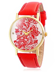Ladies' Fashion Lacework and Diamonds Design Wrist Quartz Watch with Leather Strap