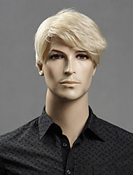 cheap -Synthetic Wig Straight With Bangs Synthetic Hair Side Part Blonde Wig Men's / Women's Short Capless