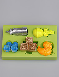 Baby Toy Shape Fondant Cake Silicone Mold Decoration Tools Fimo Caly Ramdon Color