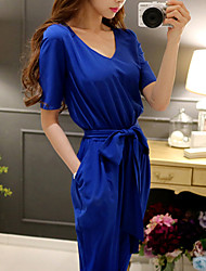 Women's Color Block Blue / Red Jumpsuits,Work / Casual / Day V Neck ½ Length Sleeve