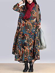 economico -Largo Vestito Da donna-Casual Boho Con stampe Rotonda Maxi Manica lunga Blu / Rosso / Grigio / Giallo Cotone Autunno A vita medio-alta