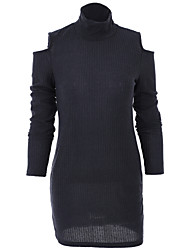 Women's Cut Out Europe Casaul Round Collar Cut Shoulder Slim Mini Knit Dress
