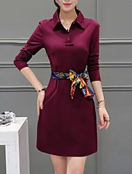 cheap -Women's Casual Shirt Dress - Solid Colored High Rise Shirt Collar / Summer / Fall