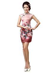 cheap -One-Piece Short Sleeve Medium Length Pink Lolita Dress Polyester Cheongsam